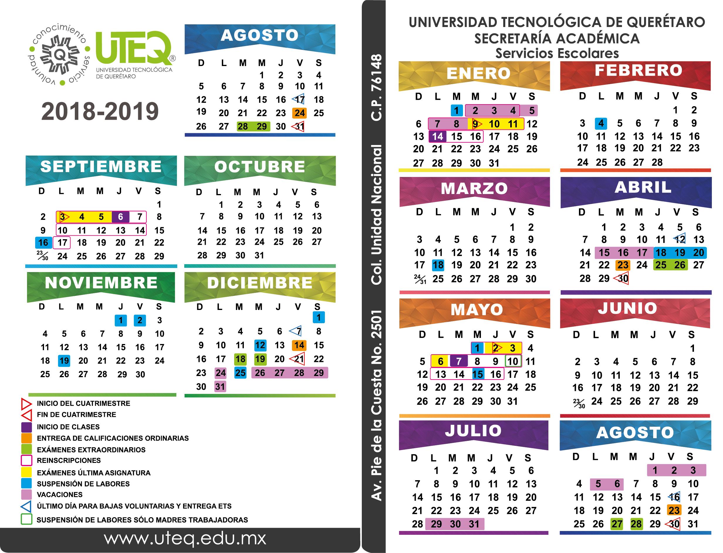 Calendario 2018 2019.Calendario Escolar